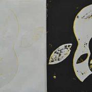 Olaf-Probst-Apfelfraktal–(schwarz-und-weiß-auf-gelb)-,–2018-dreifarbiger-Linoldruck-auf-Werkdruckpapier