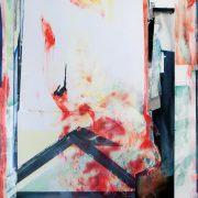Paravent I, 180 x 120 cm, gemischte Technik auf Papier auf Holz, 2016